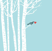 A bird perches in a birch tree, holding a heart in its beak. Copy space for your message. Elements are on separate layers for easy color changes.