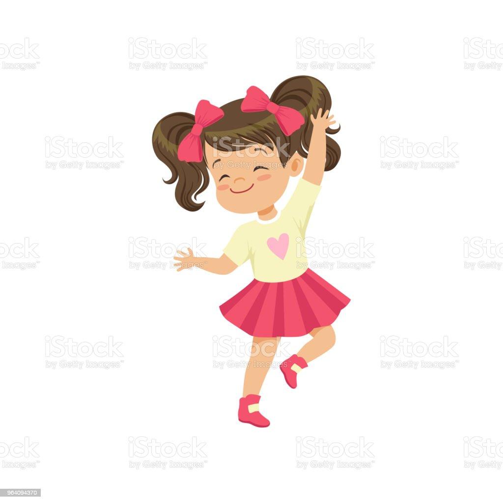白の背景にベクトル図を踊る素敵なブルネットの少女 - イラストレーションのロイヤリティフリーベクトルアート