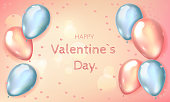 istock Lovely card for Valentine's Day, template with balloons. Illustration with 3D grey and pink balloons. Valentines Day background with 3d hearts on red. Vector illustration 1297947690
