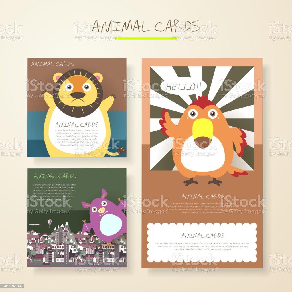 美しい漫画の動物の文字カード のイラスト素材 487182944 | istock