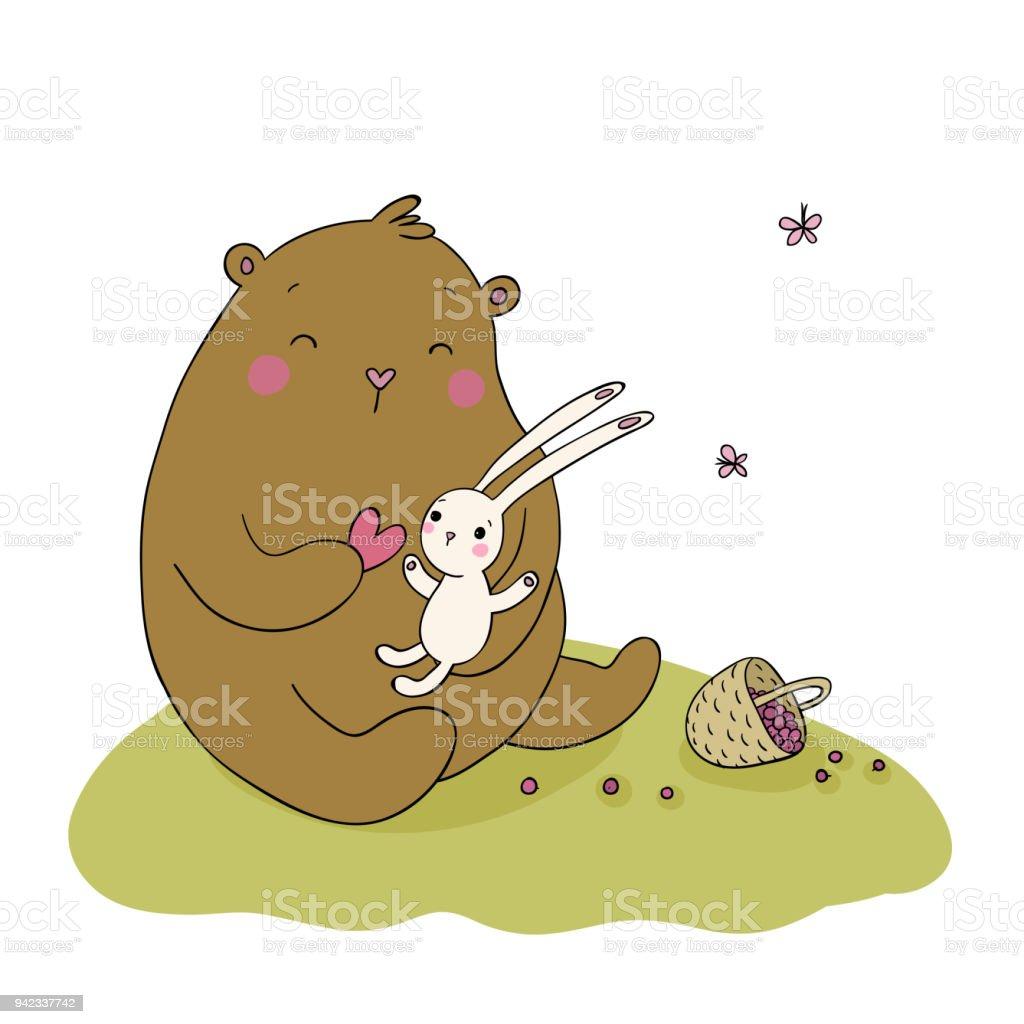 O urso dos desenhos animados encantadores e lebre. Cesta com frutas. Animais felizes. - ilustração de arte em vetor