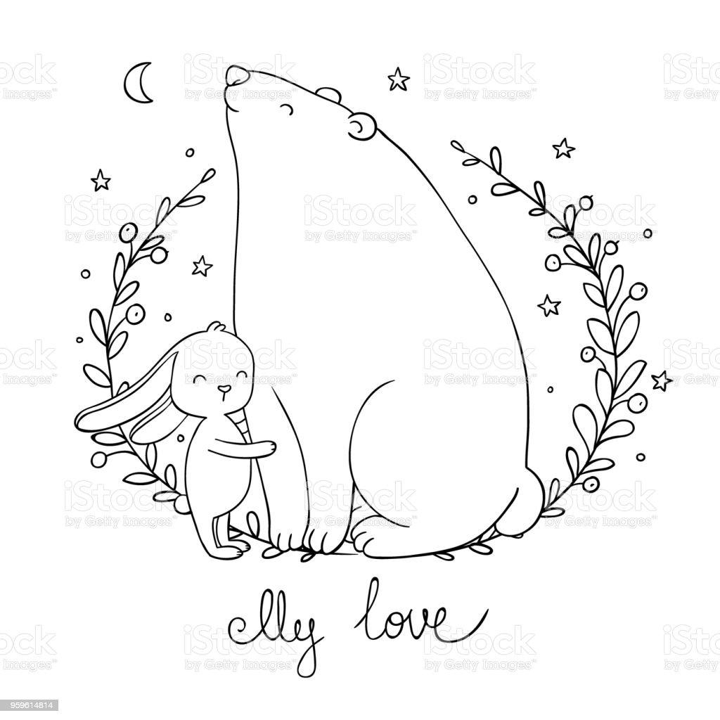 Oso de dibujos animados encantadora y liebre. Animales felices. - arte vectorial de Abrazar libre de derechos
