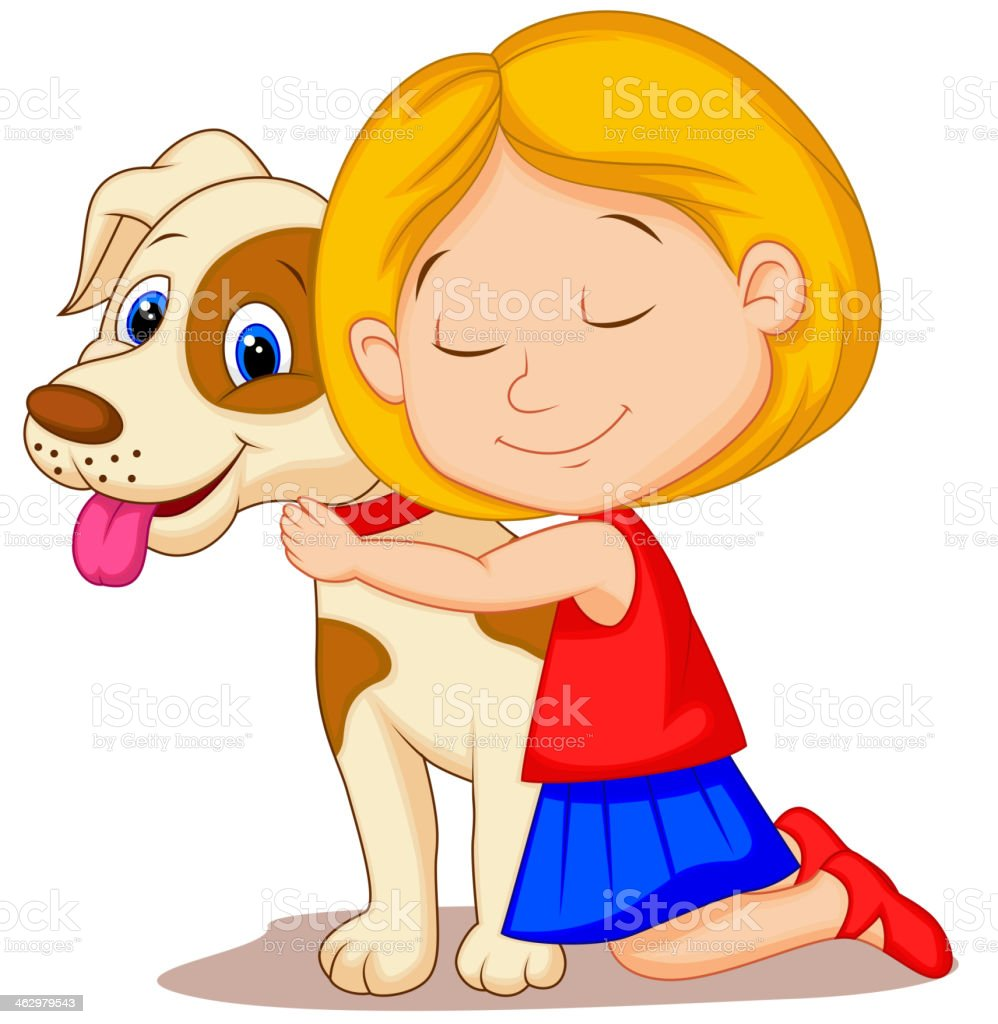 Lovely Cartoon Little Girl Hugging Pet Dog With Passion Stock Vector