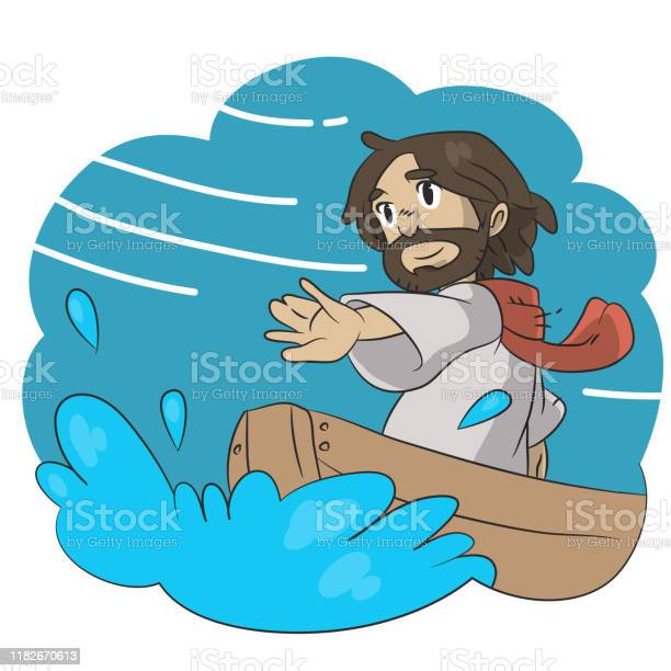 A Lovely Cartoon Of Jesus In A Boat Calming The Storm In The Sea Stock Illustration Download Image Now Istock
