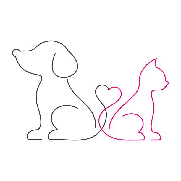 Lovely cat and dog thin line icons vector art illustration