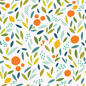 Lovely colorful vector seamless pattern with cute oranges, lemons and leaves in bright colors. Can be used for wallpapers, web page backgrounds.