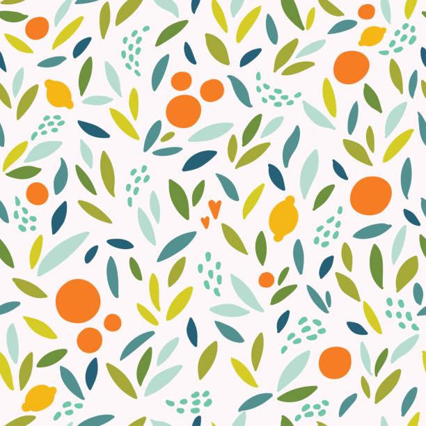 ilustrações de stock, clip art, desenhos animados e ícones de lovely colorful vector seamless pattern with cute oranges, lemons and leaves in bright colors. - orange