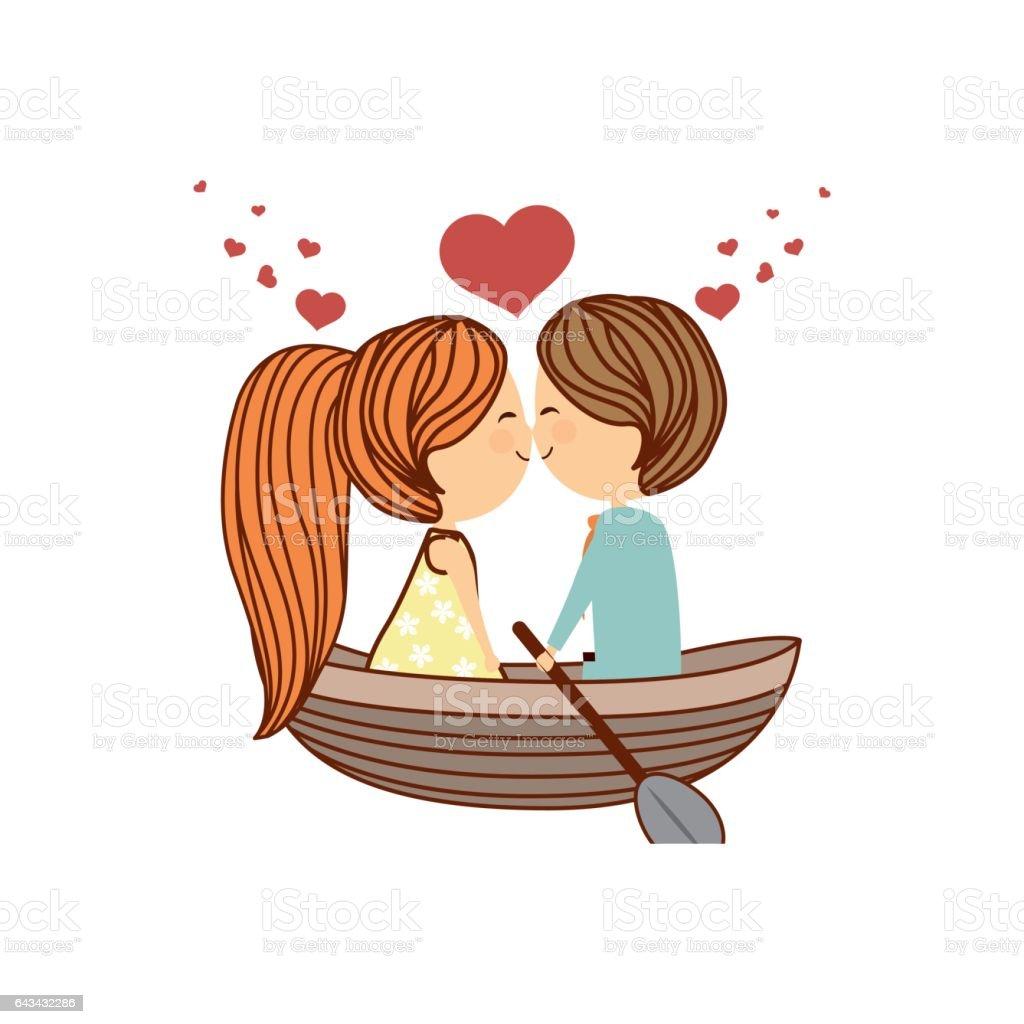 Dessin animé couple charmant - Illustration vectorielle