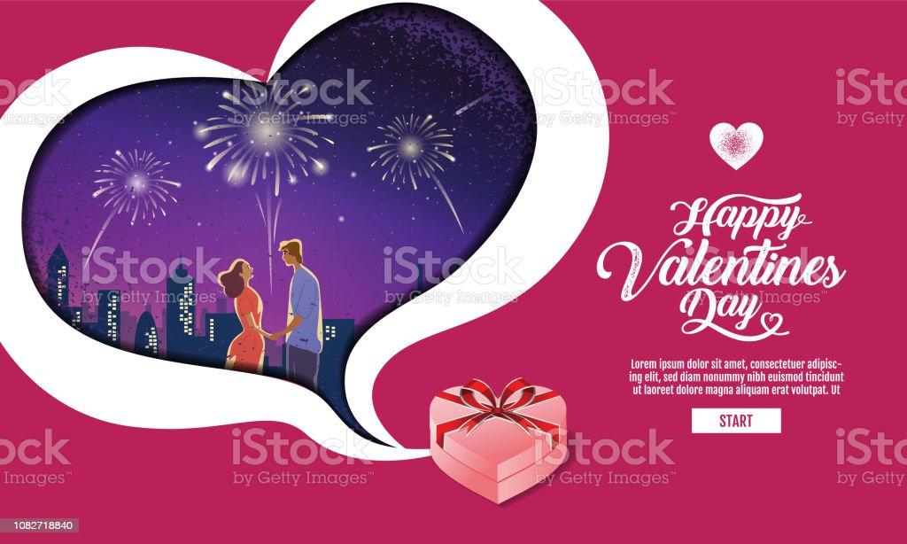 Lovely couple ,Valentine\'s day ,festival, Landscape night Background,...