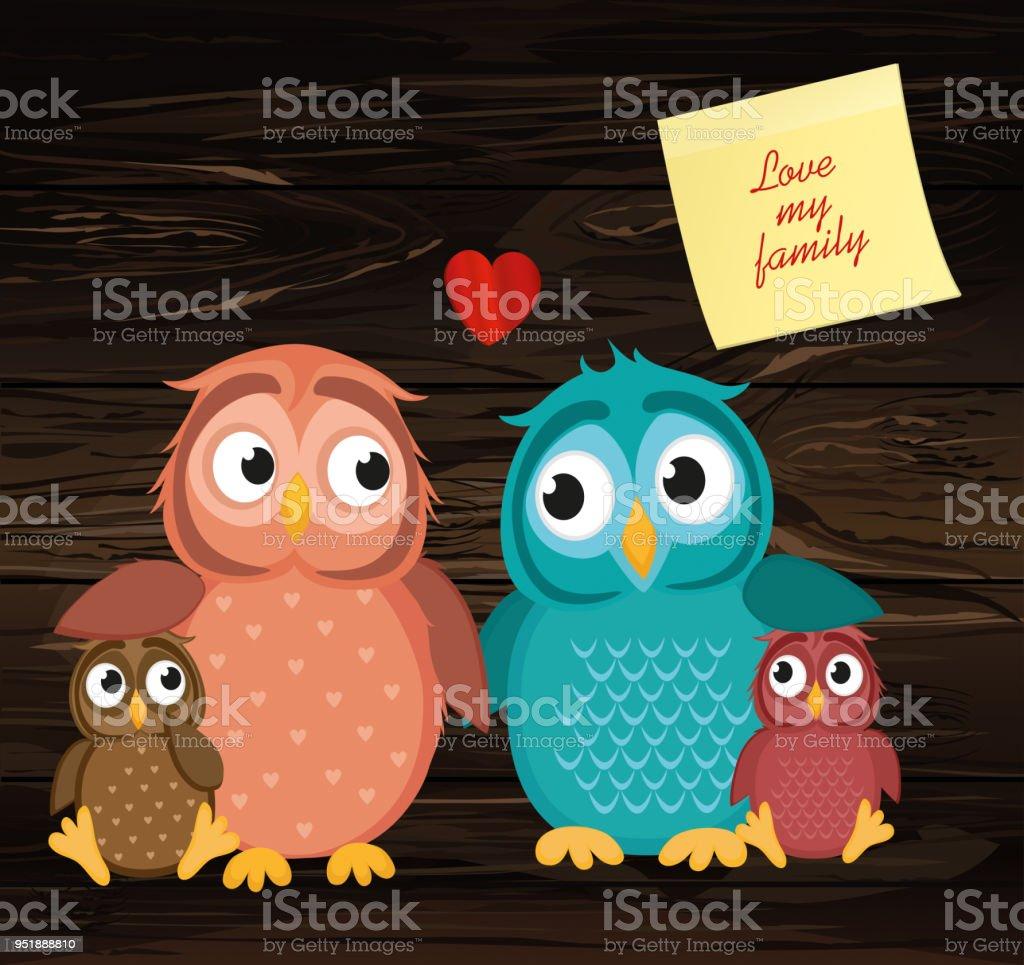 Schönes Paar Mit Kindern Owlet Familie Der Vögel Auf Ein