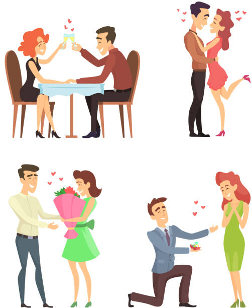 Lovely couples. Funny characters romantic male and female. Illustrations for valentines day Lovely couples. Funny characters romantic male and female. Illustrations for valentines day. Romantic male and female couple, love girlfriend boyfriend vector girlfriend stock illustrations