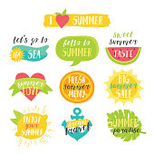 Lovely cute bright summer colorful vector set with cute oranges, lemon, sun, strawberry, sea wave, watermelon, heart, orange, anchor and tropical leaf.