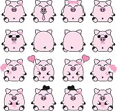 Lovely cute couple cartoon pig collection set with variety charactor isolate vector icon