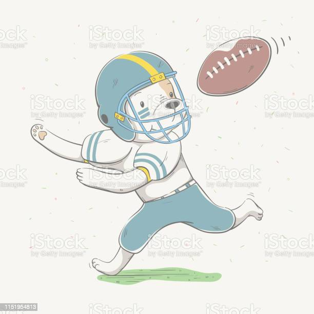 Lovely cute dog dressed like american football player with ball in vector id1151954813?b=1&k=6&m=1151954813&s=612x612&h=rkuptfoet9 tsov51bkam3kkfcssoxh1lfetxqdg t4=