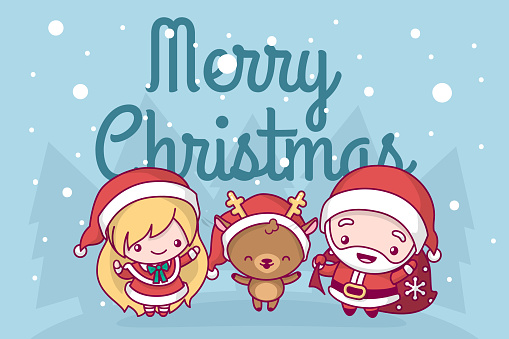 Lovely Cute Kawaii Chibi A Group Of Deer Singing A Snow Maiden Song Are Under A Snowfall Merry ...