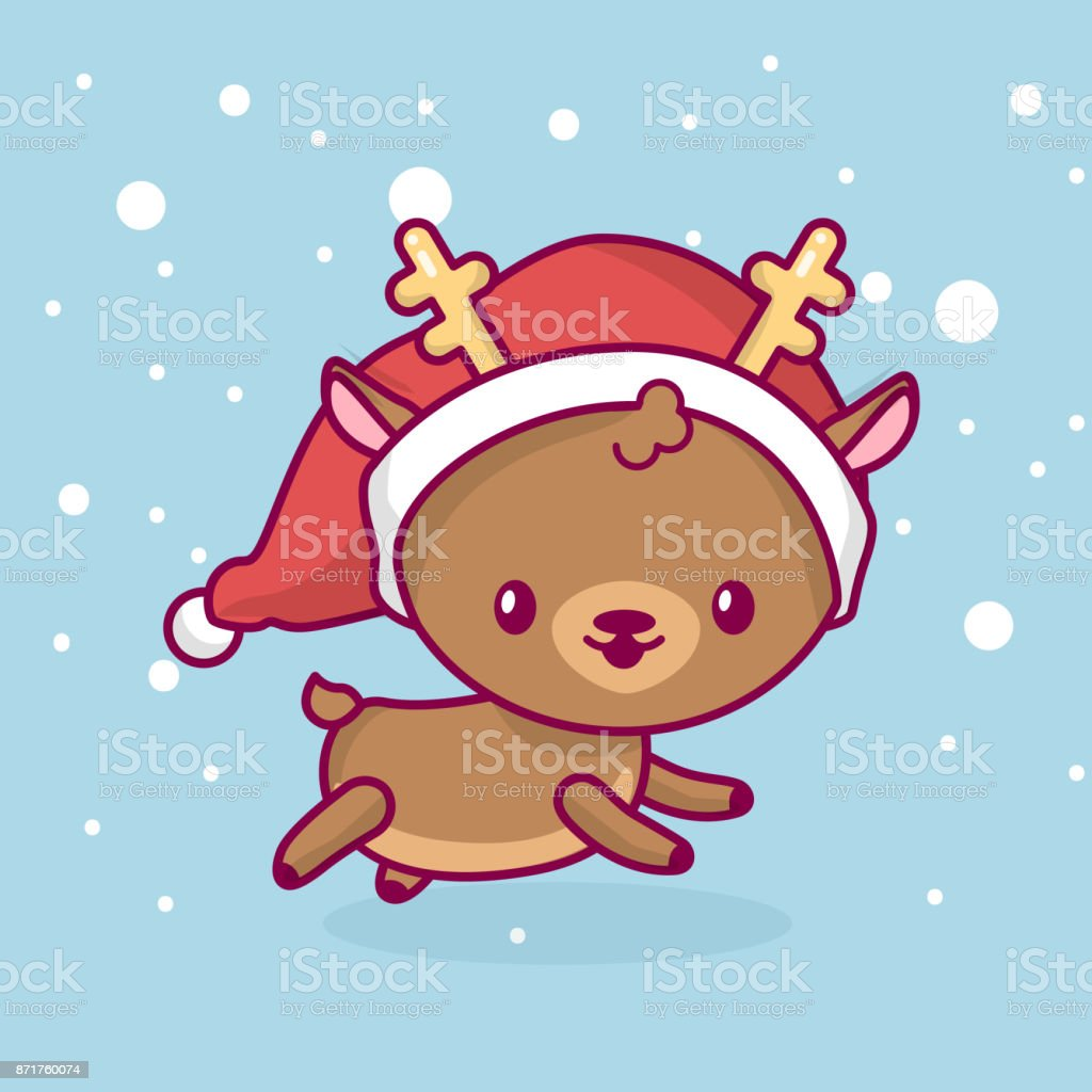 Lovely cute kawaii chibi. deer side view running under snow. Merry christmas and a happy new year vector art illustration