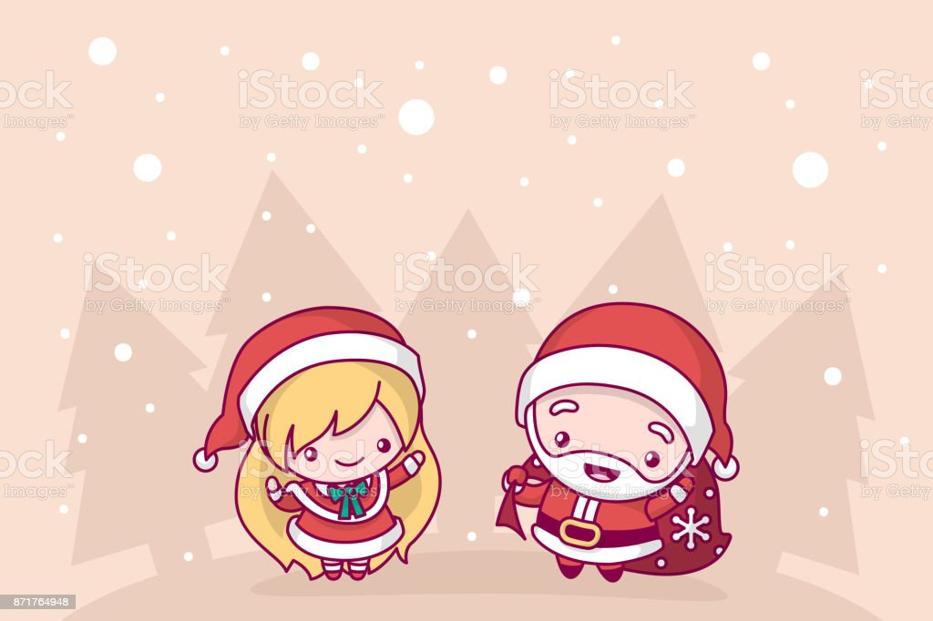 Lovely Cute Kawaii Chibi Santa Claus And Snow Maiden Under A ...