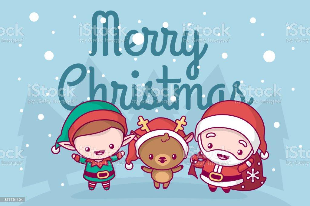 Ilustracion De Precioso Lindo Kawaii Chibi Papa Noel Ciervos Y Elf