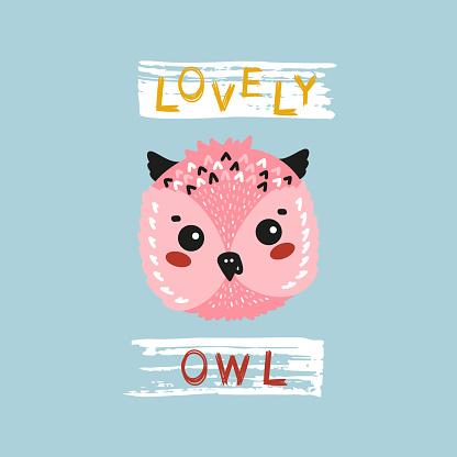 Lovely Cute Owl Face. Funny Owlet Head for Tee Print Design for Kids. Vector Cartoon Little Baby Animal. Scandinavian Card, Print or Poster Design