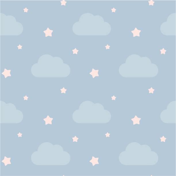bildbanksillustrationer, clip art samt tecknat material och ikoner med ljuvligt söt himlen med moln och rosa stjärnor lite sömlös vektor mönster bakgrund illustration - baby sleeping