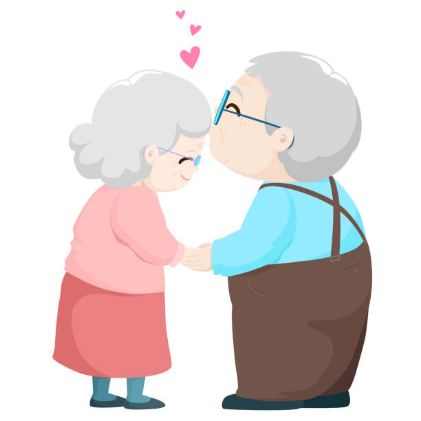 lovely elderly couple kissing vector. - old man kissing stock illustrations, clip art, cartoons, & icons