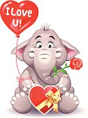 """A cute little elephant with a red rose, chocolates and a heart balloon with text: """"I Love U!"""". EPS 10, everything grouped and labeled in layers."""