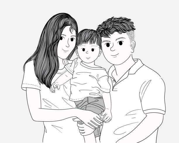 Lovely family. They are traveling to travel. vector art illustration
