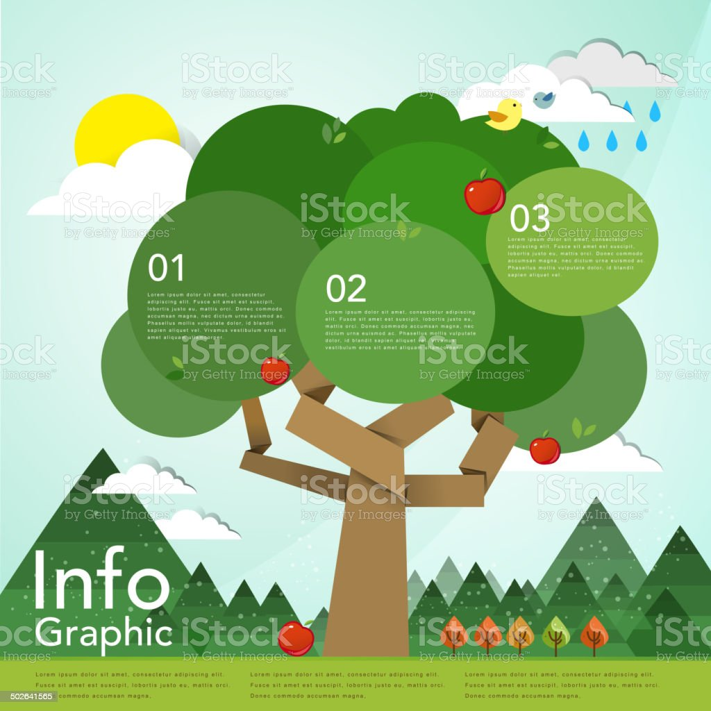 lovely flat design infographic with tree element vector art illustration