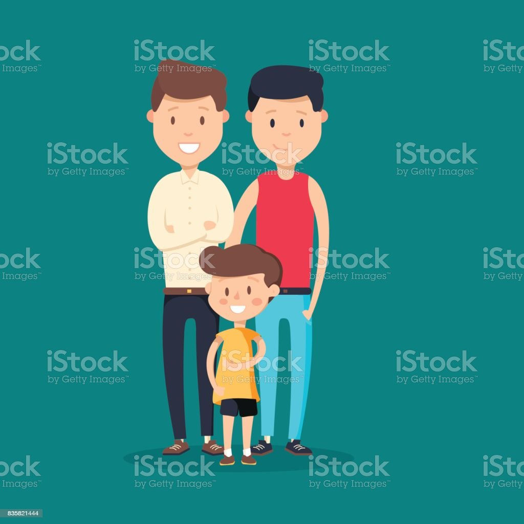 Lovely flat design vector illustration on gay family. Two adult men and small baby standing together. vector art illustration