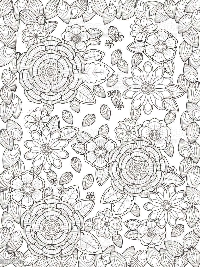 Ilustración De Página Para Colorear De Flores Hermosas Y Más