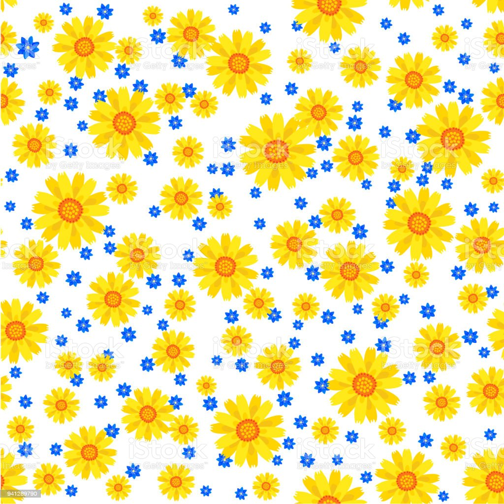 Lovely Floral Seamless Pattern Vector Illustration With Yellow And