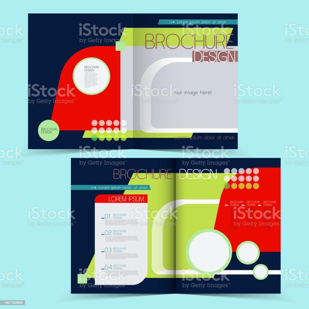 Lovely Geometric Halffold Brochure Stock Illustration