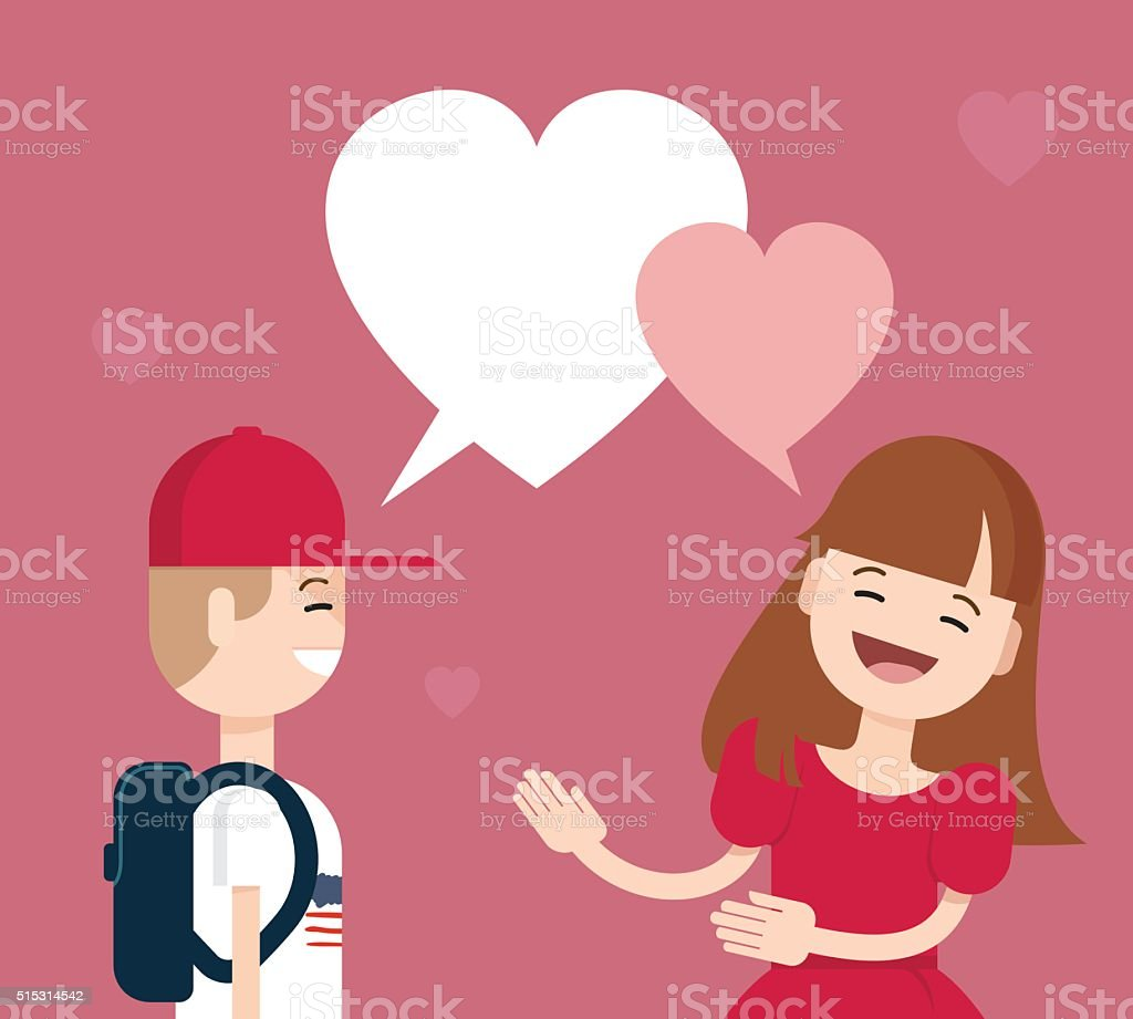 Lovely Girl And Boykids Conversation With Heartshaped Bubble S ...