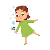 Lovely Girl Blowing Soap Bubbles Through Wand, Cute Girl Wearing Green Dress Having Fun with Soap Bubbles Cartoon Style Vector Illustration Isolated on White Background.