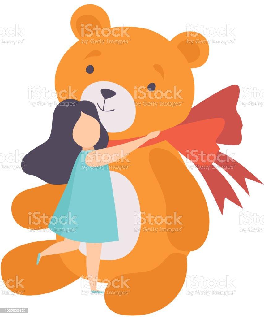 Lovely girl hugging her big teddy bear, kid celebrating birthday...