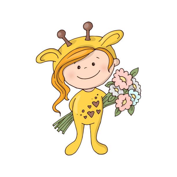 schöne mädchen in eine giraffe kostüm mit einem blumenstrauß. - giraffenkostüm stock-grafiken, -clipart, -cartoons und -symbole