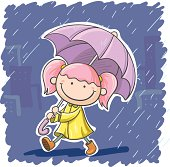 A girl in rainy day in cartoon style, in color