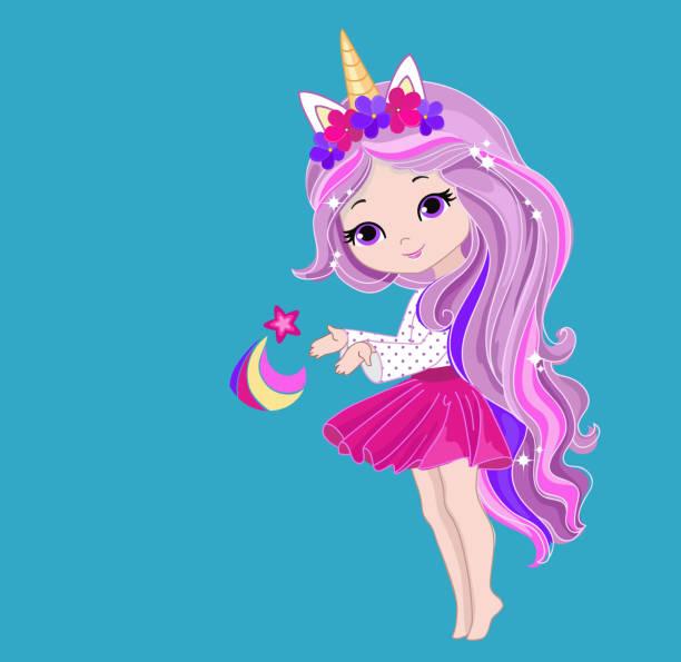 bildbanksillustrationer, clip art samt tecknat material och ikoner med härlig flicka unicorn håller en asterisk. - sparkle teen girl