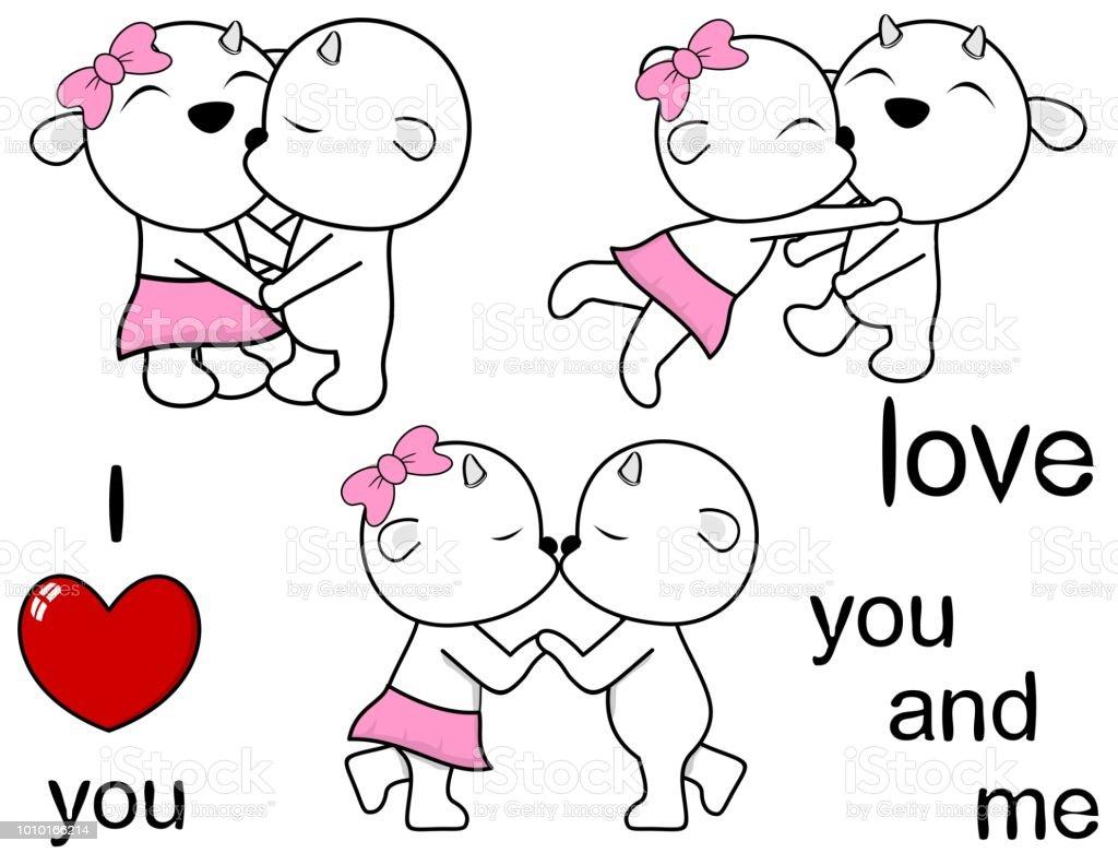 Ilustración De Pareja Encantadora Cabra Beso Dibujos Animados Amor