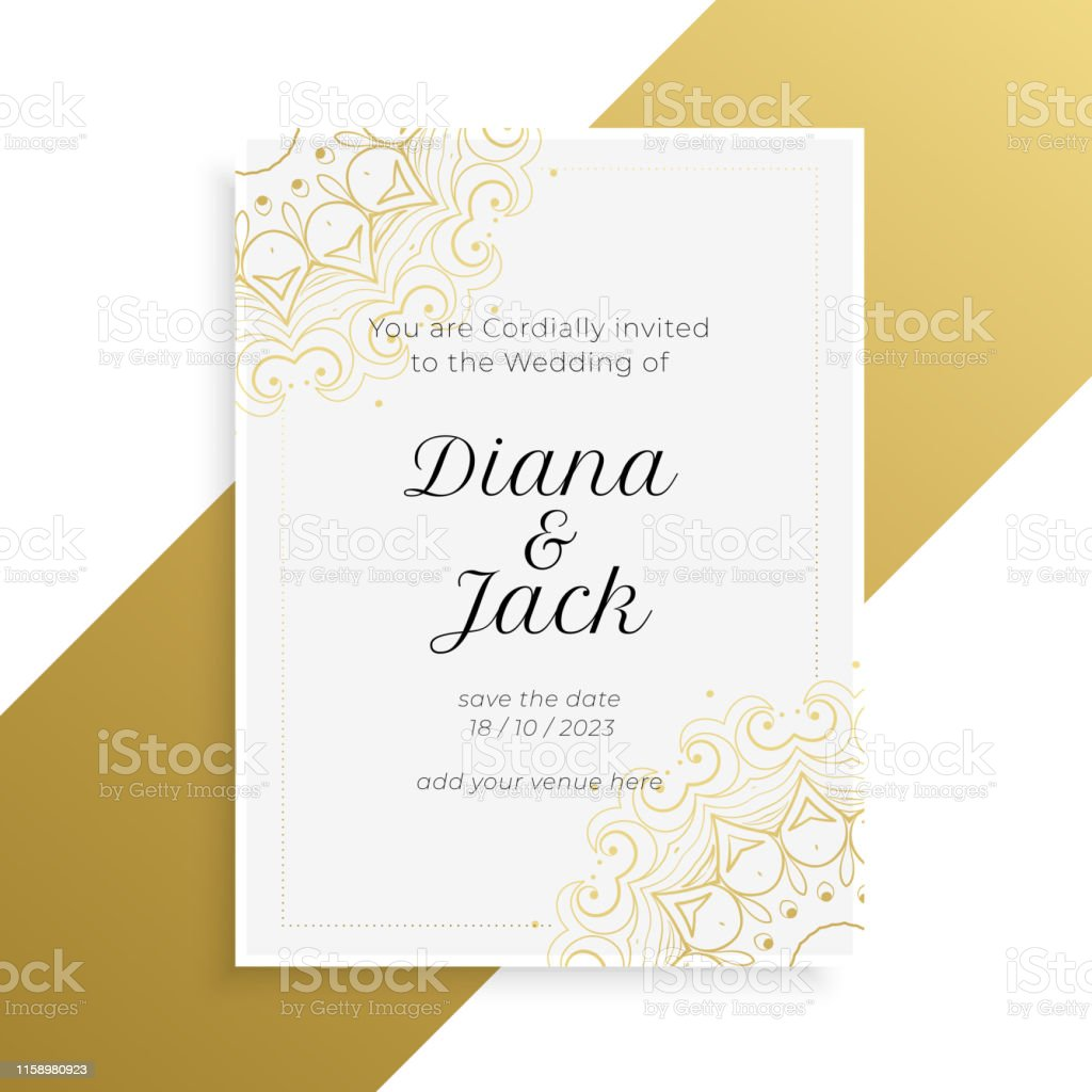 Lovely Golden And White Wedding Invitation Card Design Stock Illustration -  Download Image Now - iStock
