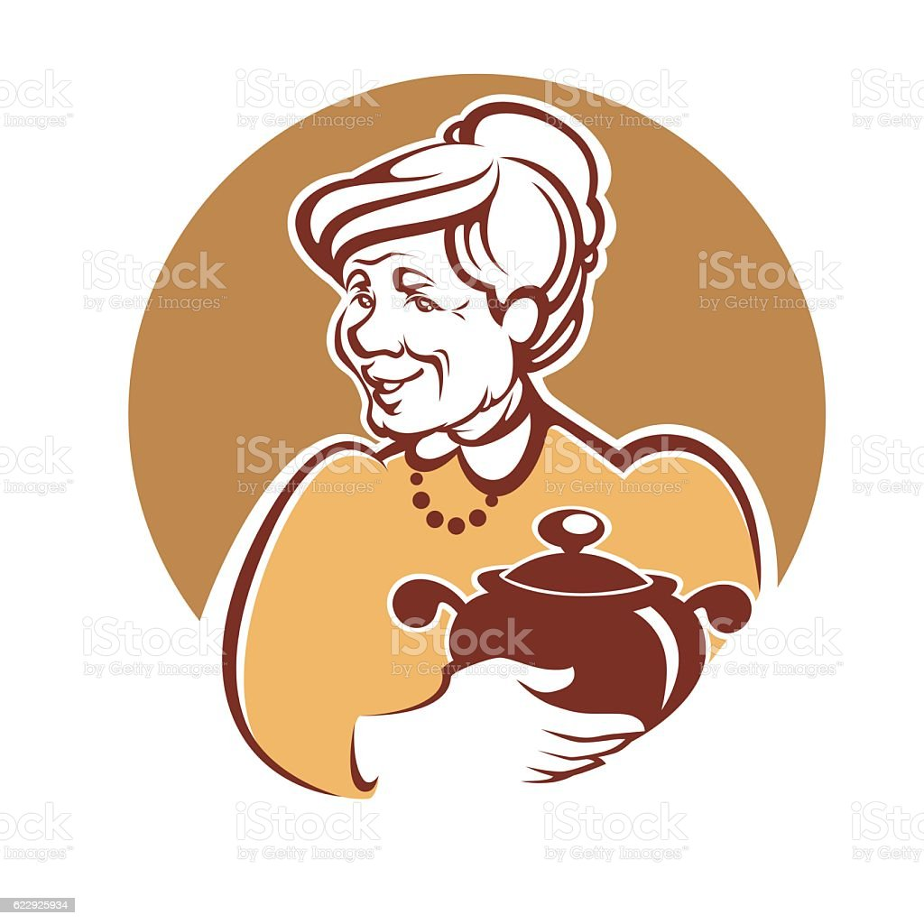 lovely grandmother and home made food - ilustración de arte vectorial