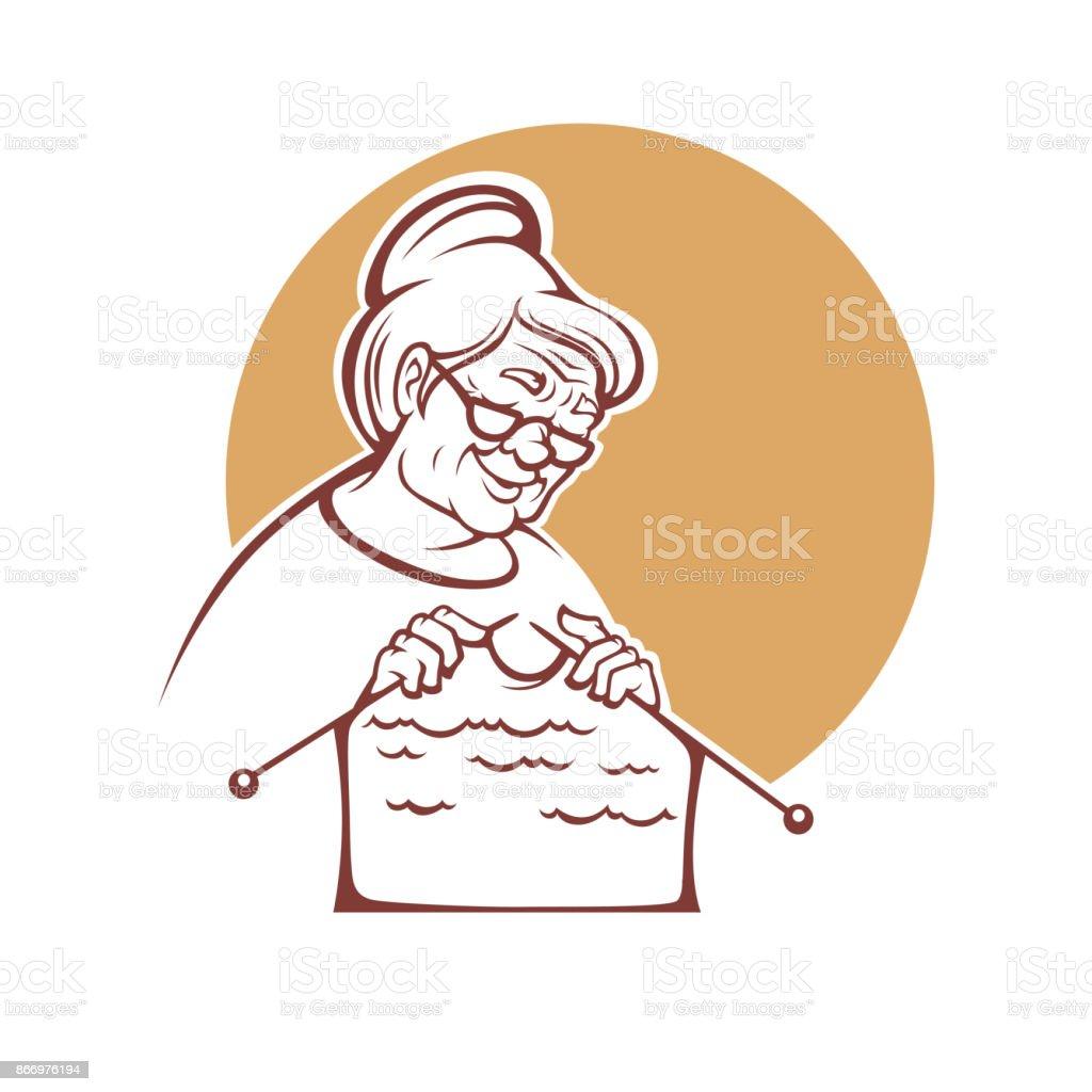 hermosa abuela, anciana tejer un suéter hecho a mano, logo, sello o emblema para su tienda de hilado - ilustración de arte vectorial