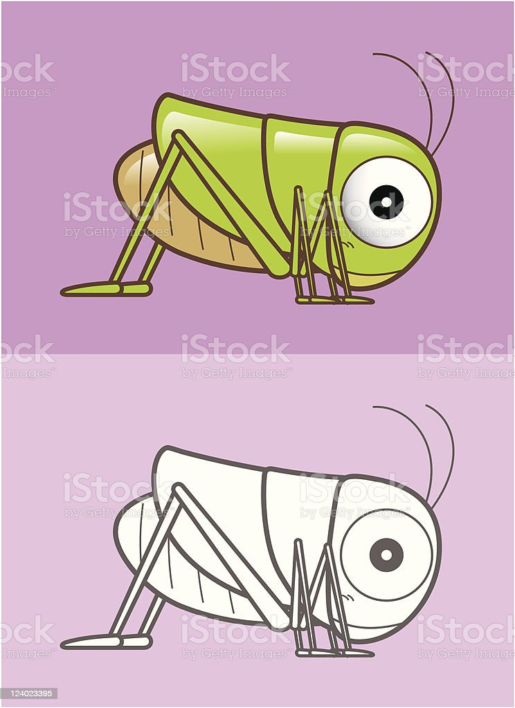 Lovely Grasshopper vector art illustration