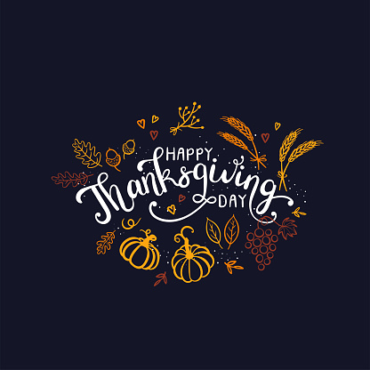 Lovely hand drawn and written Thanks Giving Design, cute pumpkins, leaves and font, great for Thanksgiving banners, wallpapers, cards - vector design