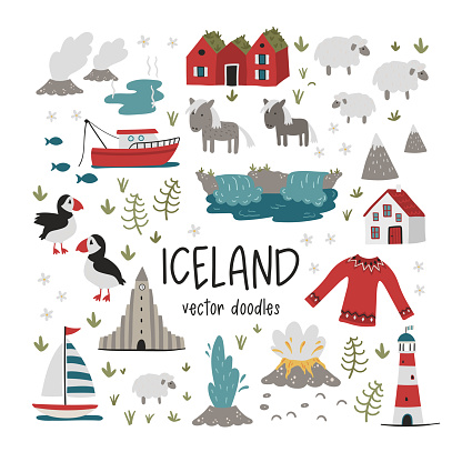 Lovely hand drawn Iceland design, doodle animals, houses, mountains - great for banners, wallpapers, prints, cards - vector design
