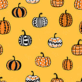 istock Lovely hand drawn pumpkin seamless pattern, great for Halloween designs, wallpapers, textiles, banners - vector design 1278594155