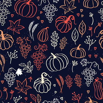 Lovely hand drawn Thanksgiving seamless pattern, great for textiles, banners, wallpapers, cards - vector design