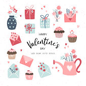 Lovely hand drawn Valentine's Day design, cute doodle cupcakes, gift boxes, letters and flowers, boho style - vector design
