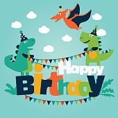 Happy birthday - lovely vector card with funny dinosaurs. Ideal for cards, invitations, party, banners, kindergarten, preschool and children room decoration