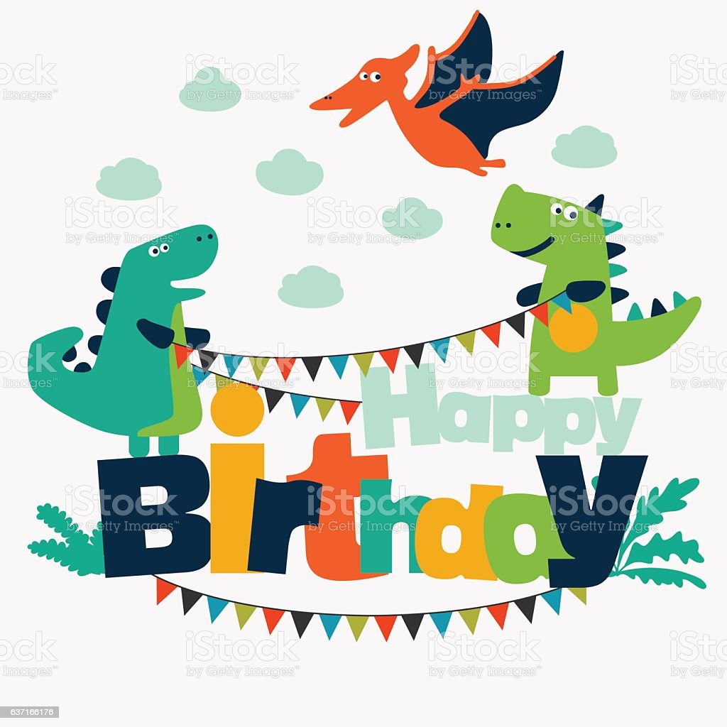 Bon Lovely Illustration With Funny Dinosaurs. Happy Birthday Cute Card Concept  Royalty Free Lovely Illustration